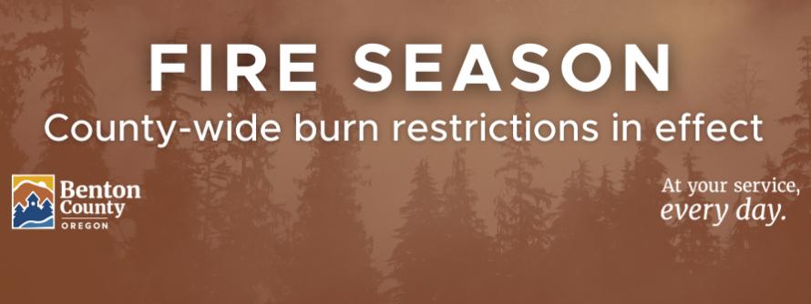 "Web banner reads ""Fire Season - Countywide burn restrictions in effect"""
