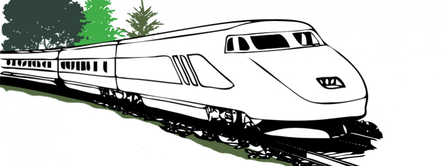 Amtrak passenger train running down the tracks with green trees in the background
