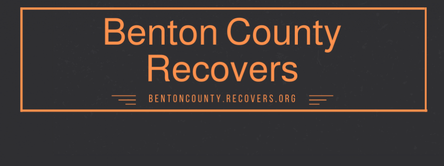 benton county recovers in orange on a black background