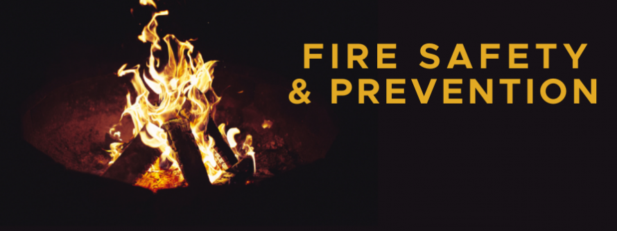 """Picture of contained fire pit with words that read """"Fire Safety & Prevention"""""""