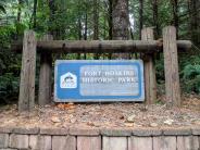 Entrance sign to Fort Hoskins Historical Park