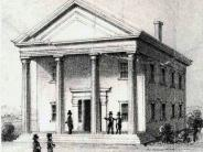 Circa 1854 - Only photo the the first courthouse as built by George Wren