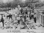 Circa 1887 Stonemasons constructing basement of 2nd courthouse