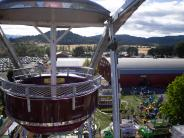 Aerial view from the parachute ride looking down over the fairgrounds