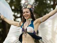 Lady dressed as aqua woman