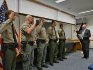 Sheriff Jackson swears in new Patrol and Corrections Deputies.