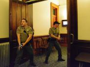 Corrections Deputies participate in Courthouse active shooter training.
