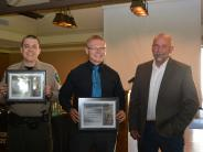 Marine Deputies Tugwell and Dean receive Life Saving Award from Sheriff Jackson.