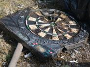Dart board...some of the trash picked up at the Marys Peak Clean-Up.