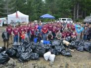 Group photo - volunteers picking up trash at the Marys Peak Clean-Up