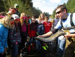 A fish biologist shows salmon to kiddos