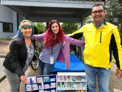 Benton County's Harm Reduction staff, (L to R) Blue Valentine, Jessica Horowitz and Chris Gray, provide street outreach, rapid HIV/STI testing, Hepatitis A and C prevention, syringe exchange, and other referral services to assist community members in accessing prevention and health services.  They can often be seen in the community riding their bikes to access remote and hard to reach areas in the county.