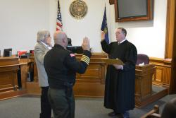 Commissioner Pat Malone and Sheriff Scott Jackson take oath of office, administered by presiding Judge Williams