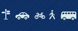 train, car, bicycle, pedestrian and bus