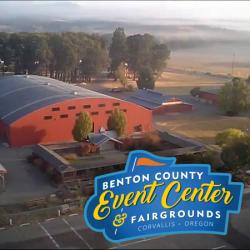Benton County Events Center and Fairgrounds aerial with logo