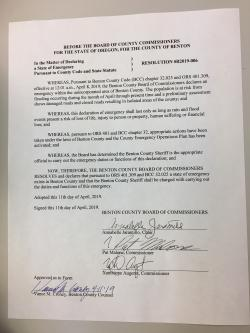 Benton County Commissioners declare state of emergency