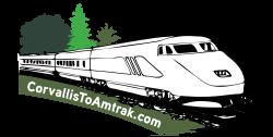 amtrak train on a track with green trees in the background