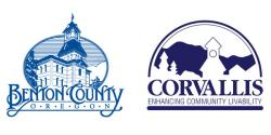Benton County logo with courthouse and City of Corvallis logo with courthouse and trees.