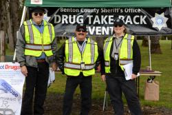 Auxiliary Team members help with the Drug Take Back event.