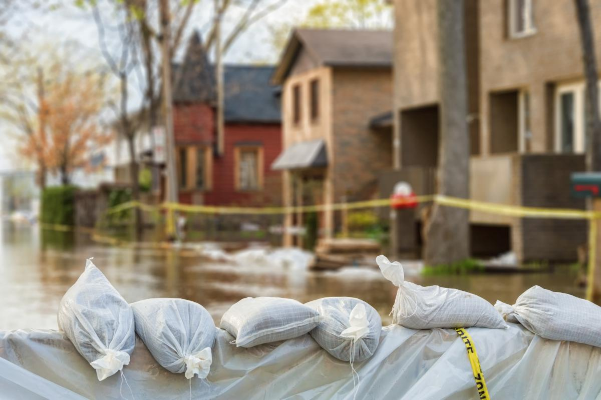 Sandbags set up for protection in front of house