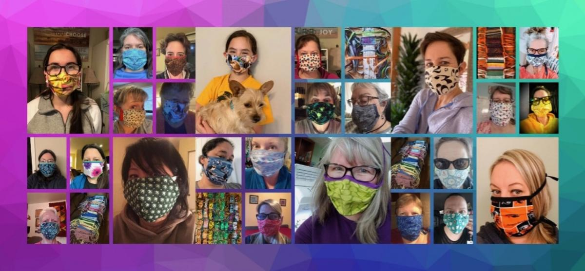 a picture of over twenty different hospital staff wearing homemade cloth masks for personal protective equipment