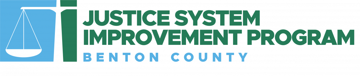 """Program icon featuring illustration of a scale with words that read """"Justice System Improvement Program, Benton County"""""""