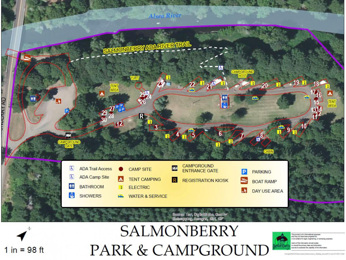 Salmonberry Campground Site Map