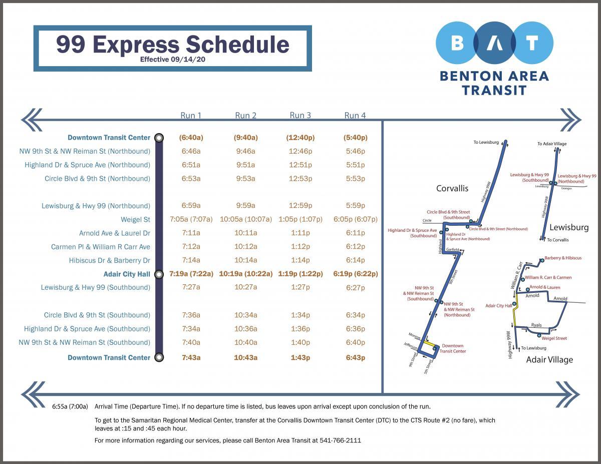 Benton Area Transit, 99 Express, Corvallis - Lewisburg - Adair Village