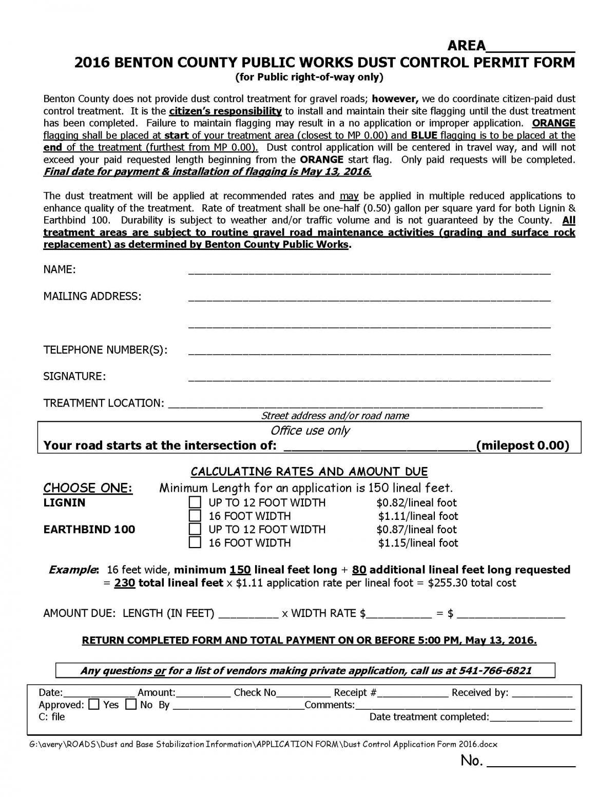 2016 dust control application form benton county oregon 2016 dust control application aiddatafo Gallery