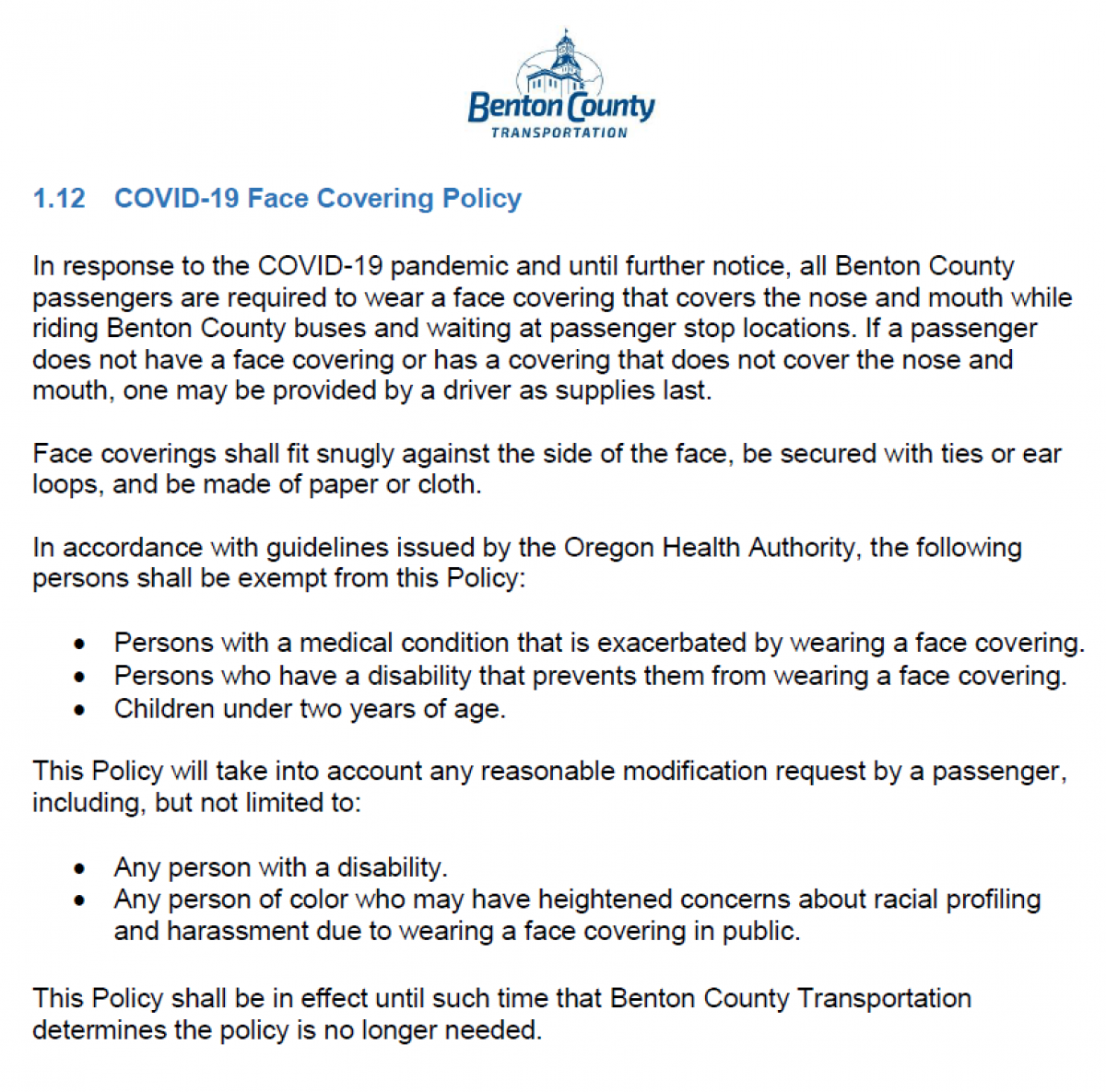Benton County Transportation Face Covering Policy